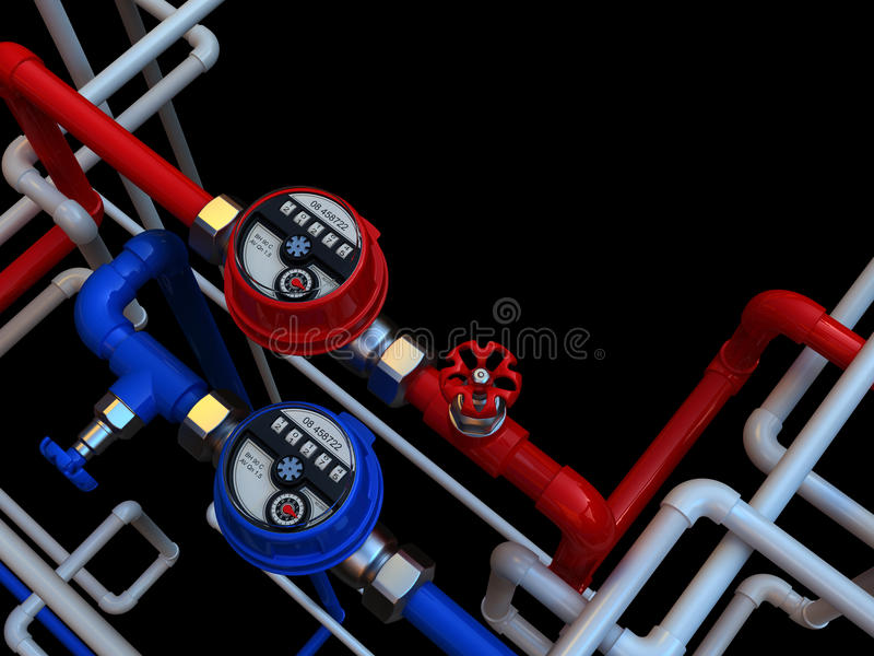 Water Meters And Taps Stock Photography