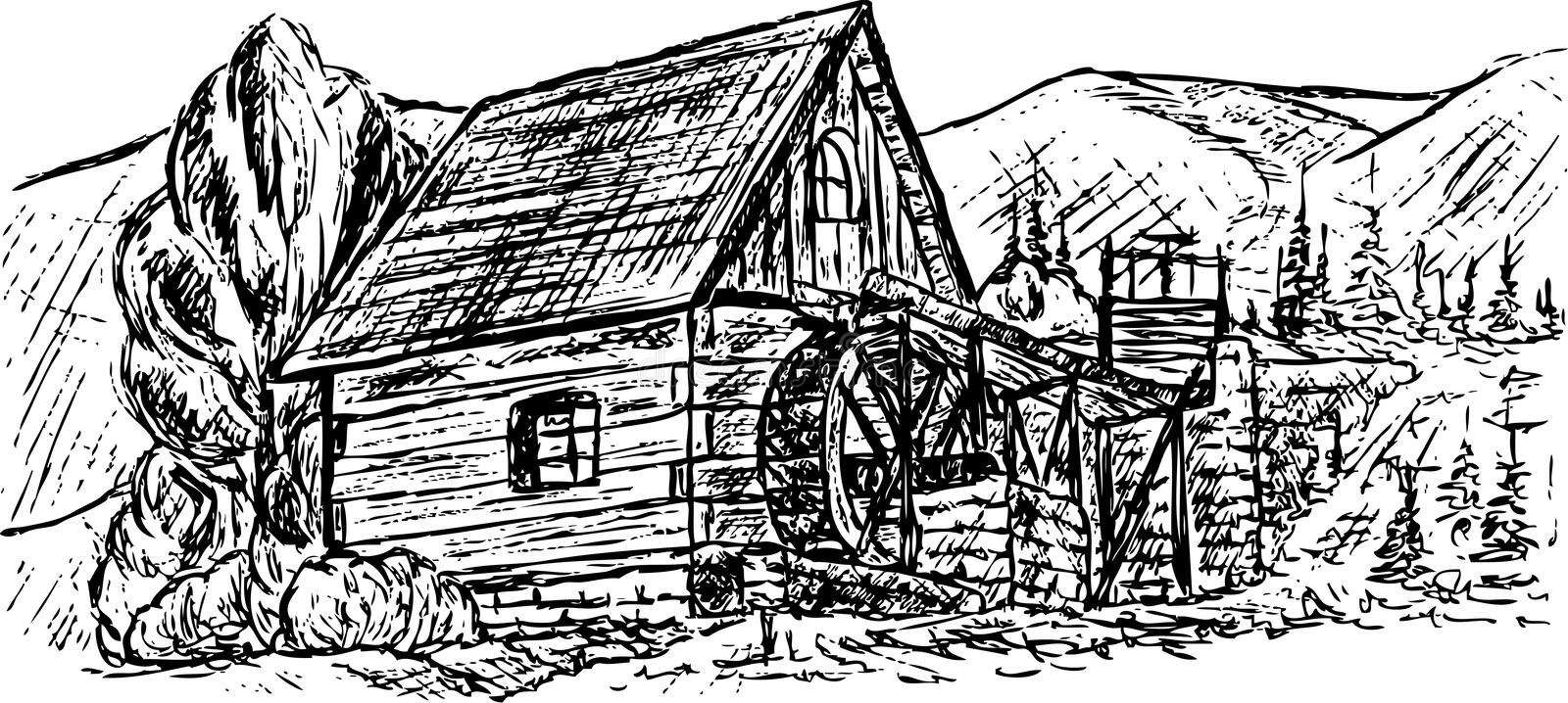 Download Water mill stock vector. Image of rural, ancient, building - 14556702
