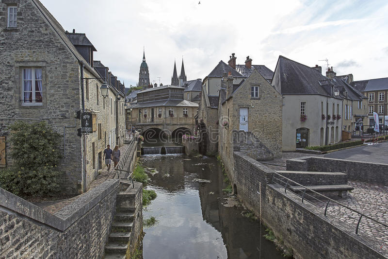 Water mill and Aure River in the old city of Bayeux royalty free stock images