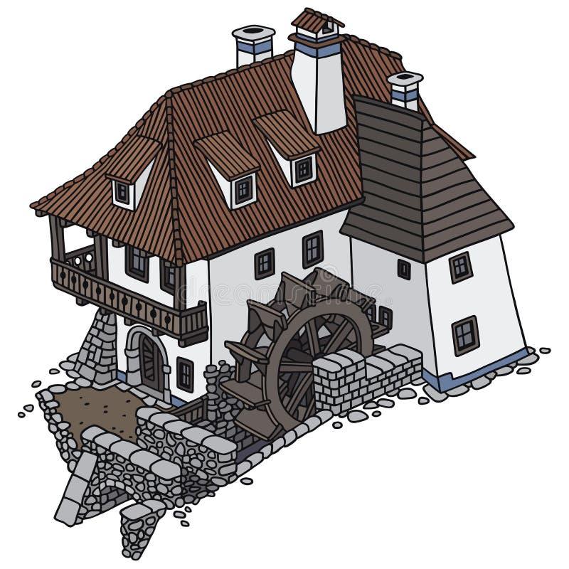 Water mill vector illustration