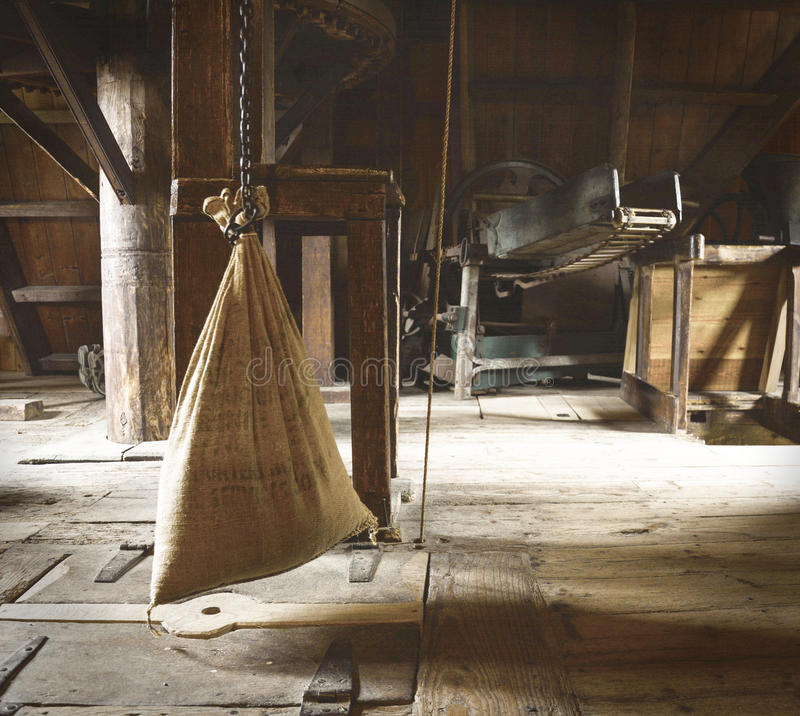 Water Mill - hessian bag of grain/flour royalty free stock photos