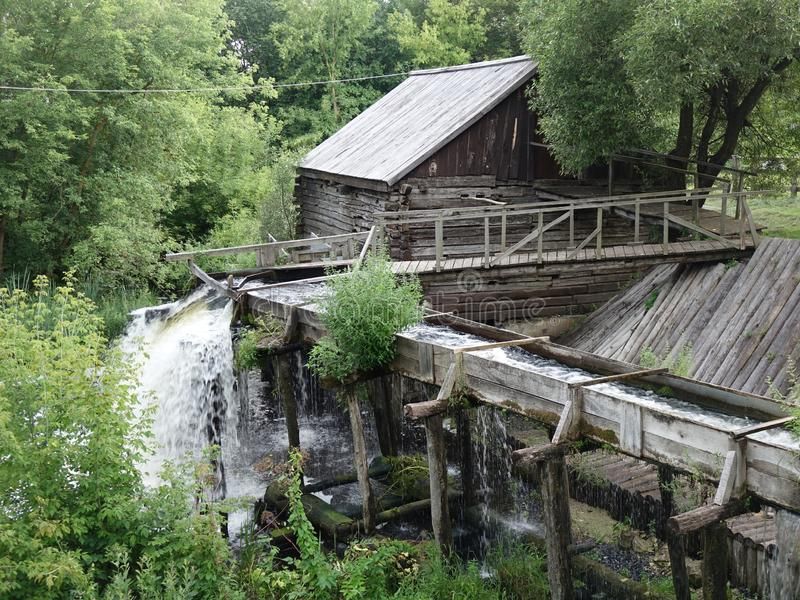 Water mill of the late 19th century. stock images