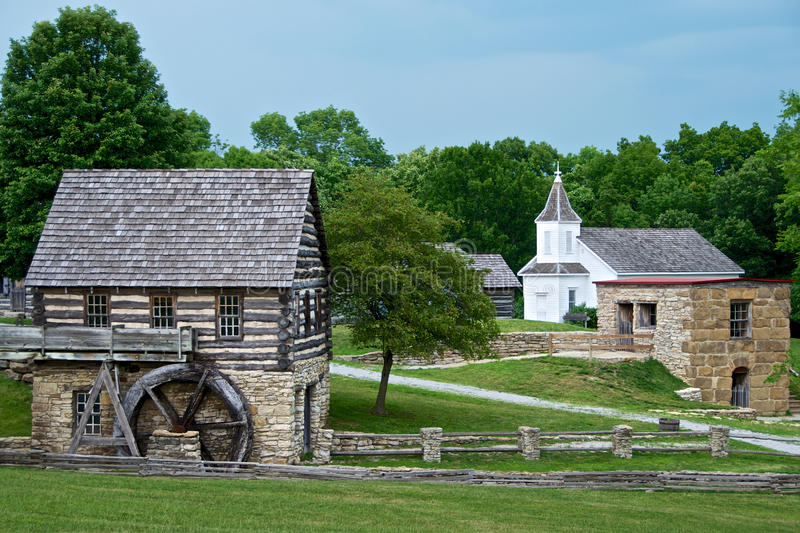 Water Mill Town Shoal Creek Living History Museum. Vintage Water Mill and church. Shoal Creek Living History Museum is a village of authentic 19th century royalty free stock image