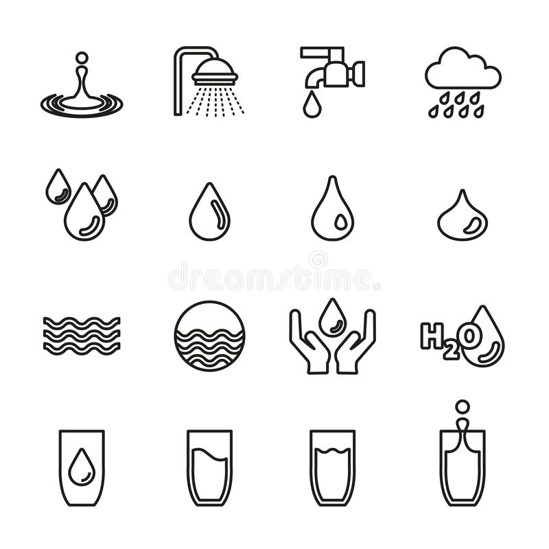 Water, Mineral water icons set with white background. vector illustration