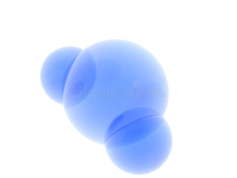 Water molecule. 3D rendering of a blue model of water molecule on white background vector illustration