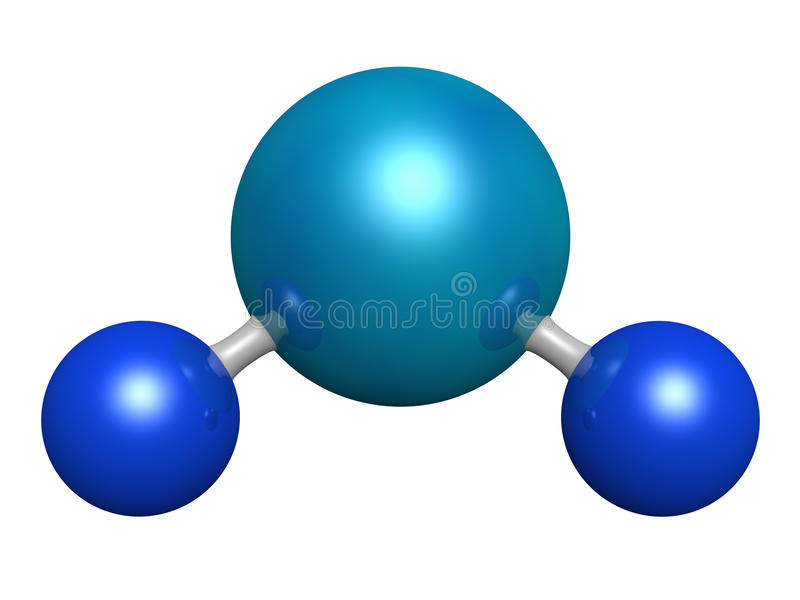 Water molecule. 3d model of water molecule vector illustration