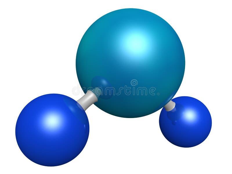Water molecule. 3d model of water molecule stock illustration