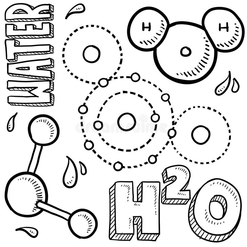 H2o Water Molecule Stock Illustrations