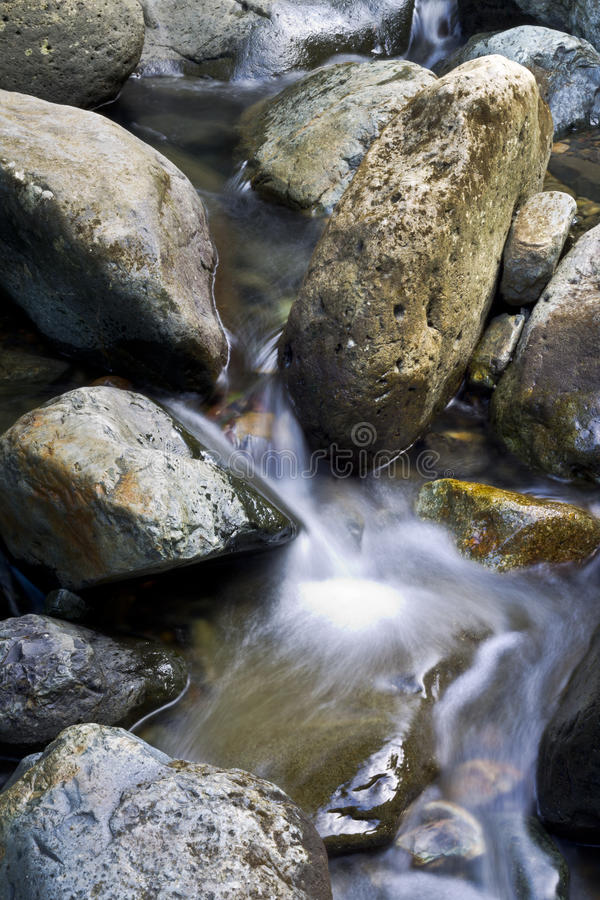 Water in motion in a river at El Yunque stock photo