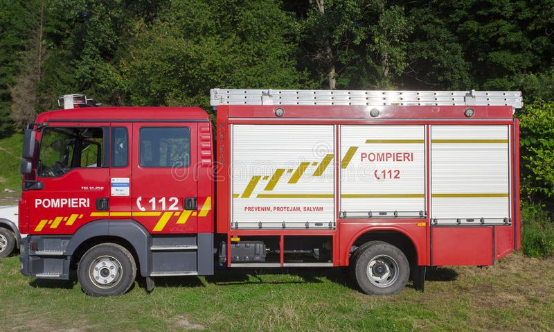 Water Music Festival, local event in Ceahlau, Romania. Bicaz lake. view of fire fighter truck royalty free stock photography