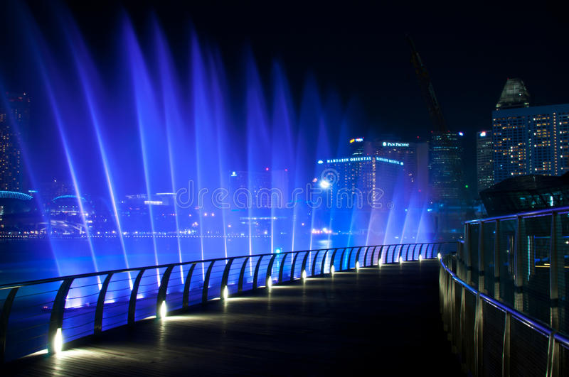 Water Musical Performance. A colorful musical water fountain performance at waterfront of Marina Bay Sands. The picture was taken on 27 June 2011 royalty free stock photos