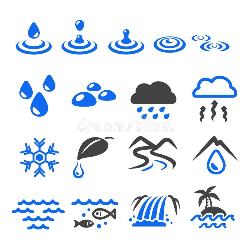 Water with natural icon. Set,vector and illustration stock illustration