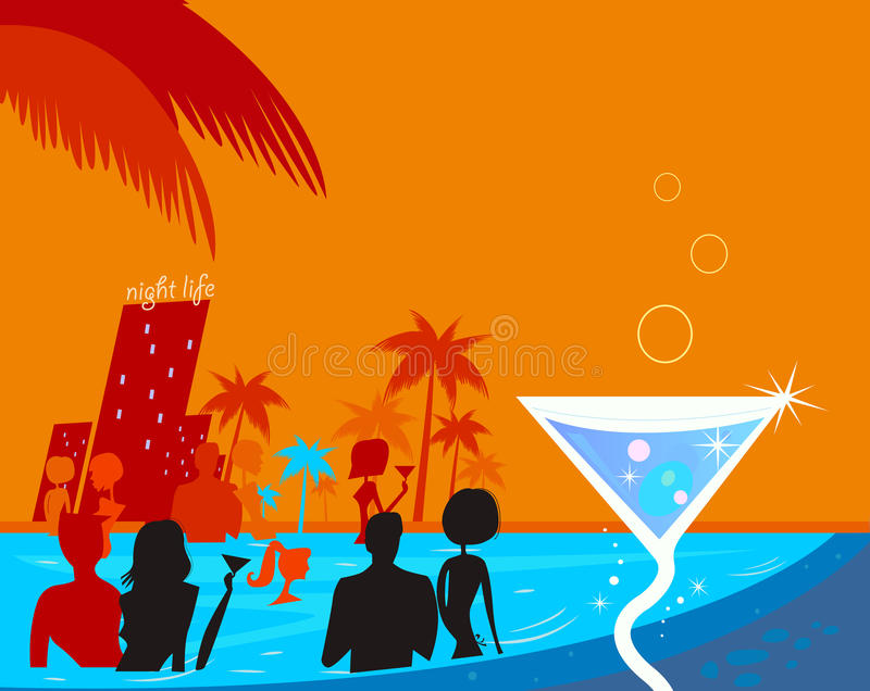 Water night party: People in pool & fresh Martini. Beach party people in night pool. Vector illustration in retro style. Beautiful blue - red vibrant colors royalty free illustration
