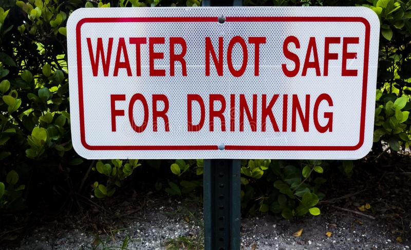 Water Not Safe For Drinking Metal Sign stock photo