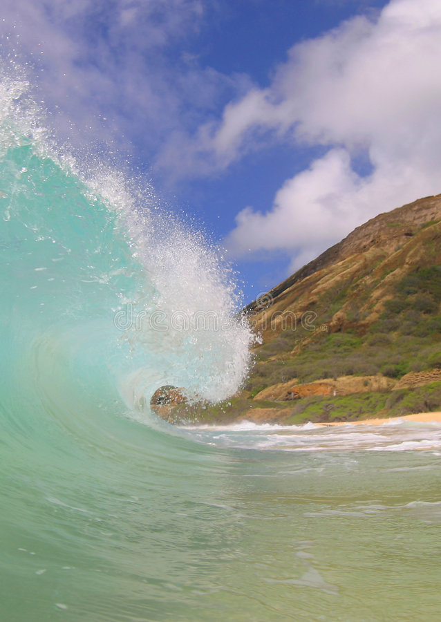 Water Ocean Wave. Photo of a clean wave at Sandy Beach on the island of Oahu, Hawaii stock photos