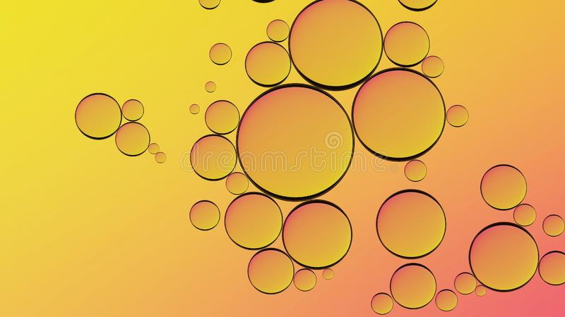 Water in oil in abstract style on yellow background. Orange liquid splash. Golden yellow bubble oil abstract background. royalty free stock photography