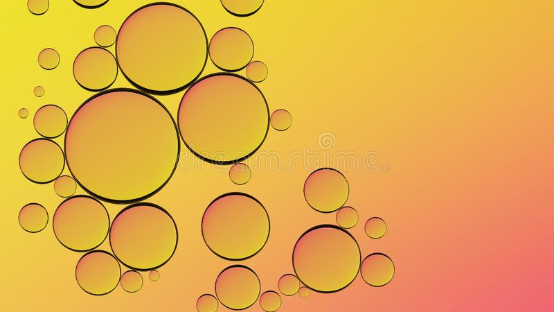 Water in oil in abstract style on yellow background. Orange liquid splash. Golden yellow bubble oil abstract background. royalty free stock photo