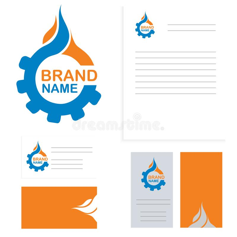 Water or Oil And Gas supply service business vector logo. Plumbing symbol. Corporate identity branding card template. Vector. Water or Oil And Gas supply service royalty free illustration