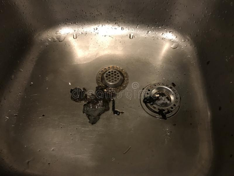 The water at our kitchen. These are the results of a blockage with water royalty free stock photo
