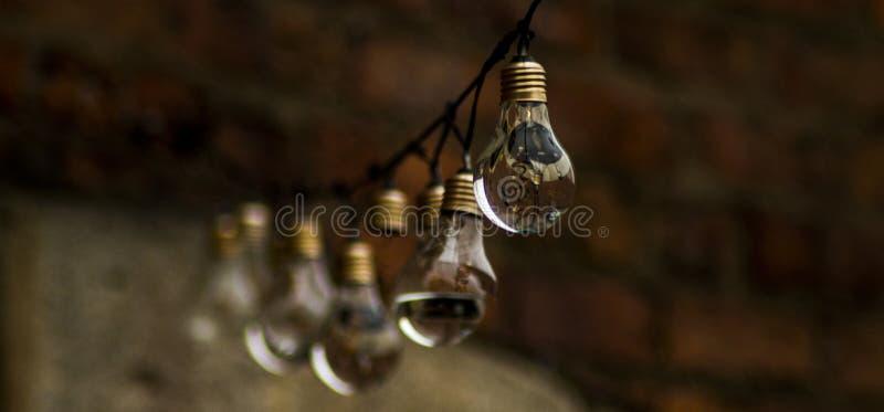 Water overstroomde rij van Lightbulbs stock fotografie