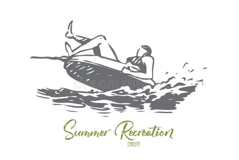Water, overzees, de zomer, aantrekkelijkheid, banaanconcept Hand getrokken ge?soleerde vector royalty-vrije illustratie