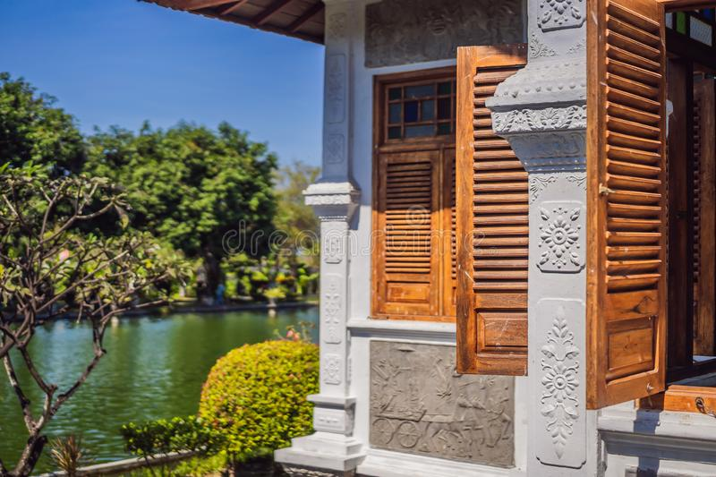 Water Palace Taman Ujung in Bali Island Indonesia - travel and architecture background stock image