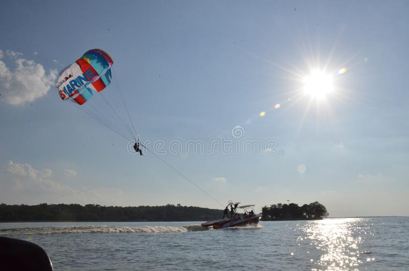 Water para sailing in bhopal , india. Water para sailing bhopal india royalty free stock images