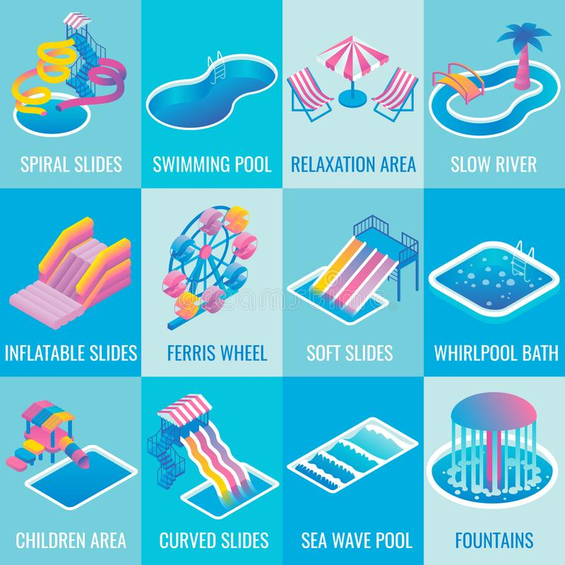 Vector water park attractions flat isometric icon set. Water park attractions vector icon set with different types of slides, swimming pools, ferris wheel royalty free illustration
