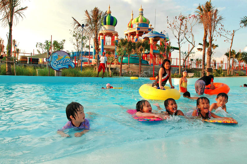 Water park. Children play in the water park Citraland Surabaya, Eas Java, Indonesia. Photo taken on August 20th, 2005 stock images