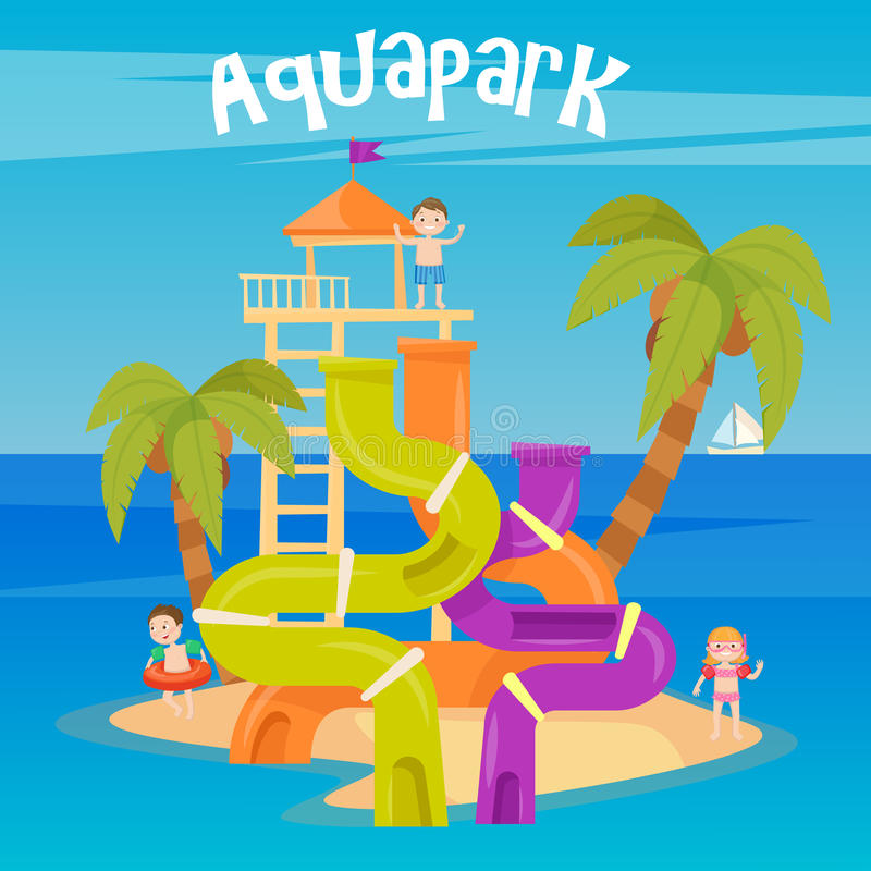 Water Park. Summer Vacation. Fun Aquapark. Water Hills. Vector illustration royalty free illustration