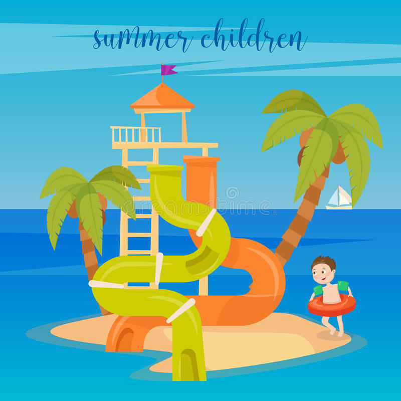 Water Park Summer Vacation. Happy Boy on the Sea. royalty free illustration