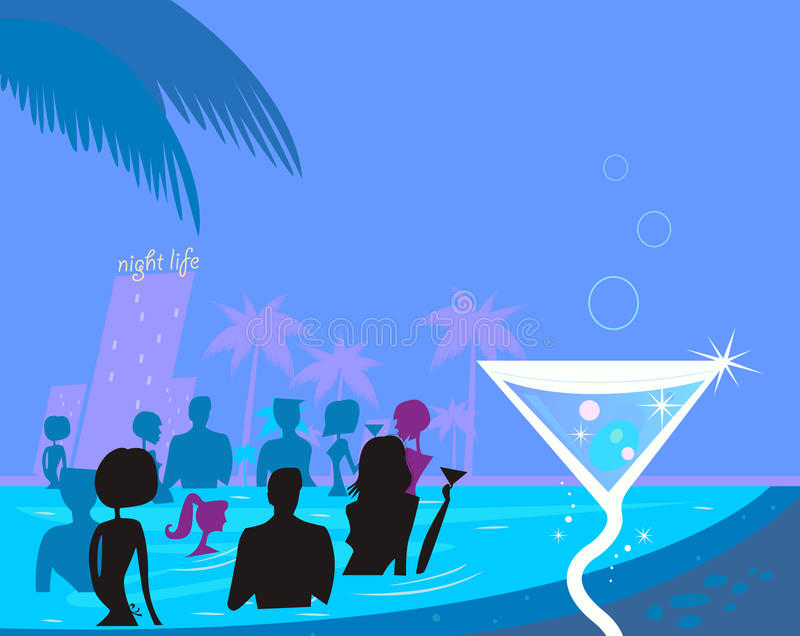 Water party night: People in pool & fresh Martini. People in night pool. Vector illustration in retro style vector illustration