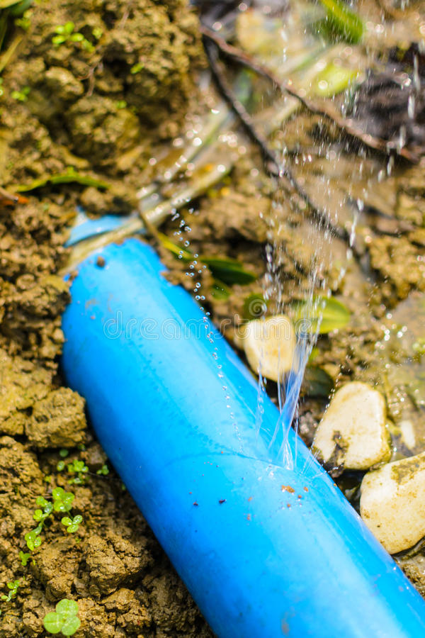 Water pipe. Close view of water pipe crack stock photo
