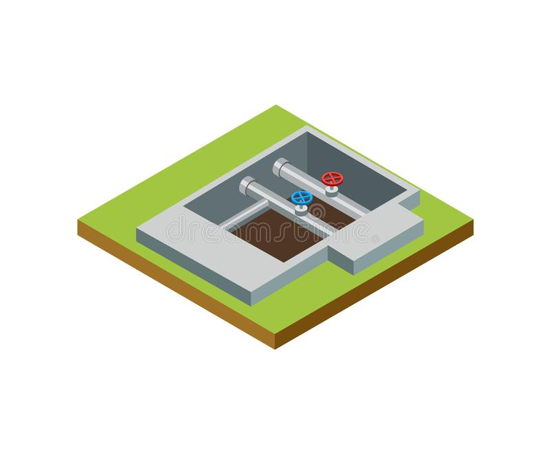 Water pipe installation isometric 3D icon. Architectural engineering, construction stages of countryside house vector illustration royalty free illustration