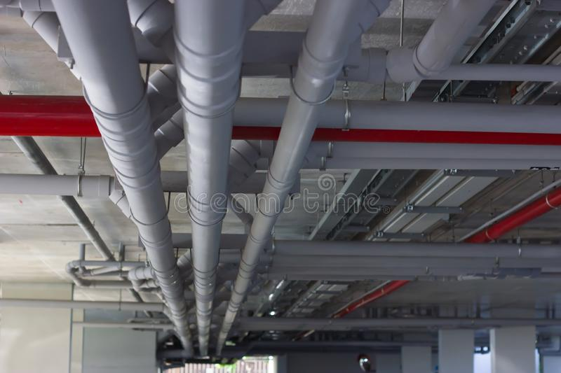Water pipe system. Installation of water pipes in the building stock photo