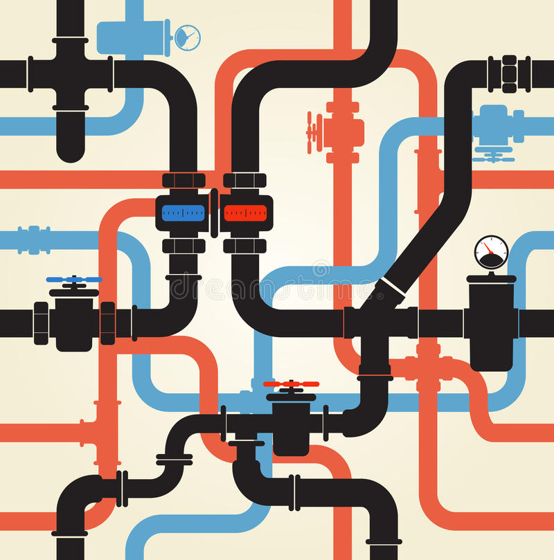 Water pipeline. Seamless background of water pipeline stock illustration