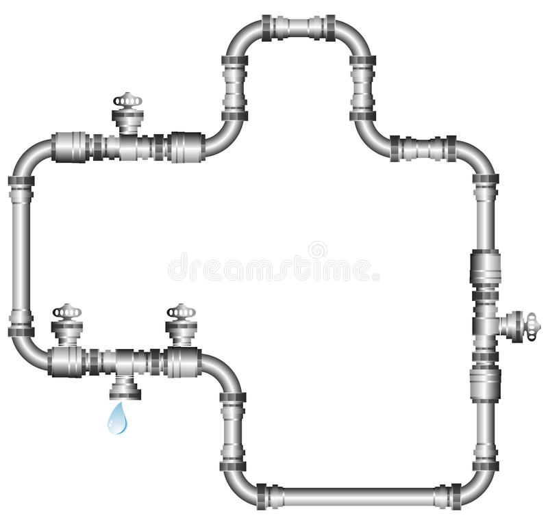 Water pipes. Vector illustration of water pipes isolated on white stock illustration