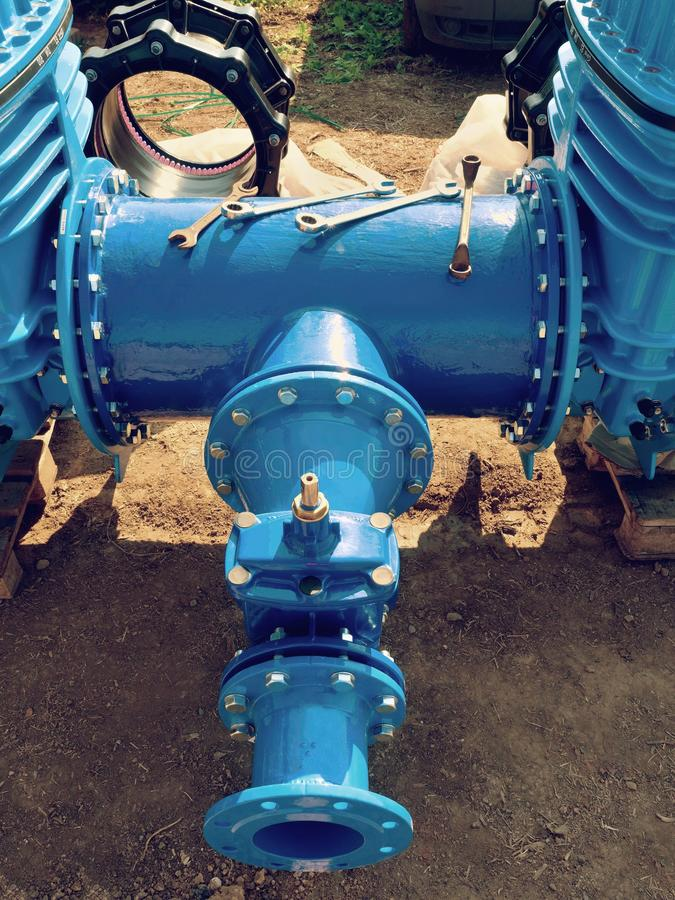 Download Water  Piping With New Gate Valves And Reduction Member Stock Image - Image of construction, adapter: 90589025