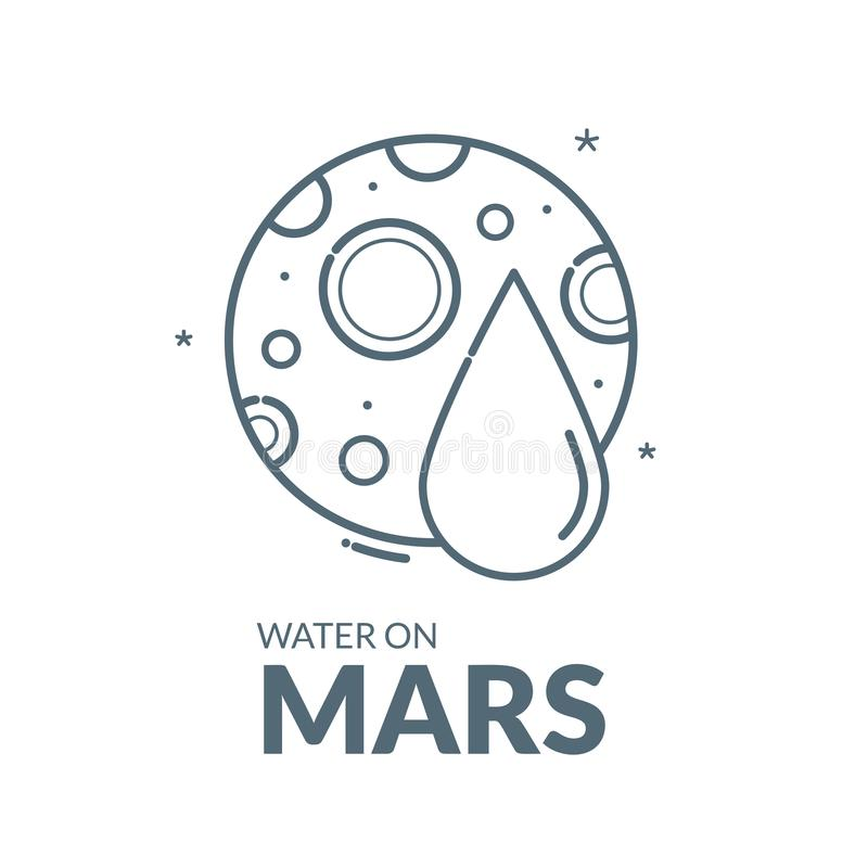 Water on Planet Mars, vector illustration. Water on Planet Mars, concept design, black and white vector illustration vector illustration