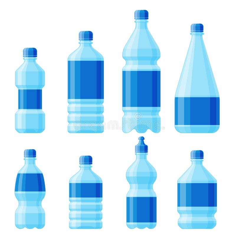 Water plastic bottle vector transparent mineral beverage blank refreshment nature blue clean liquid aqua fluid template vector illustration
