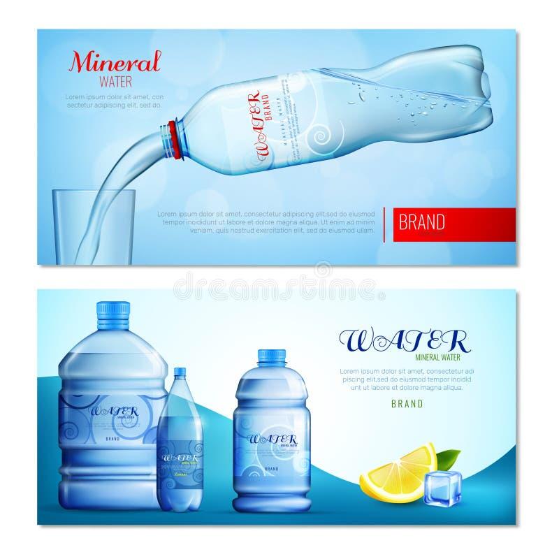 Water in Plastic Flessen Horizontale Banners royalty-vrije illustratie