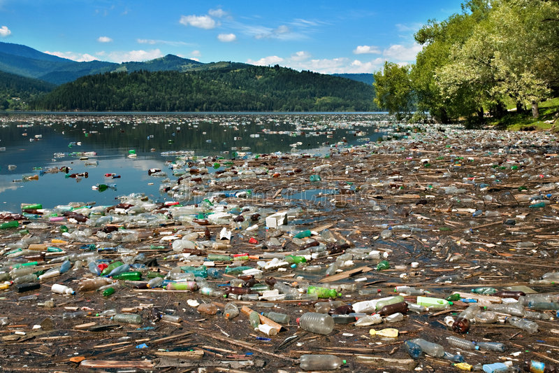water plastic pollution stock photo