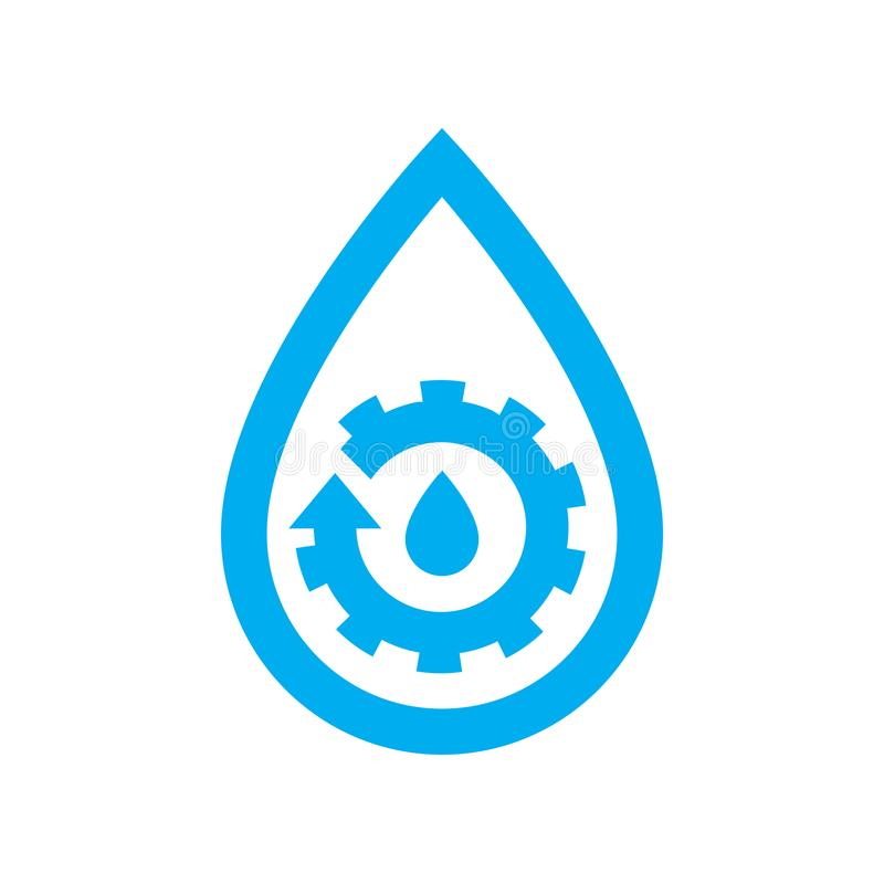 Water plumbing maintenance icon. Blue gear cog in water drop symbol vector illustration