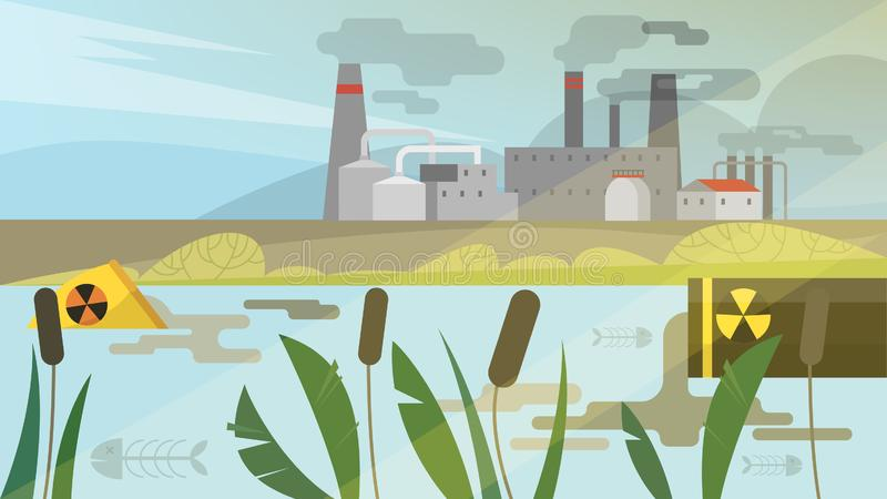 Water pollution concept. Toxic waste in the river vector illustration