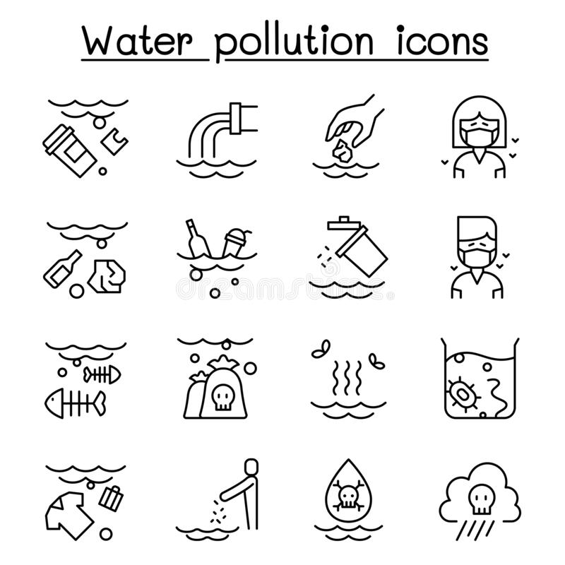 Free Water Pollution, Contaminate, Dirty Icon Set In Thin Line Style Stock Photo - 148494670