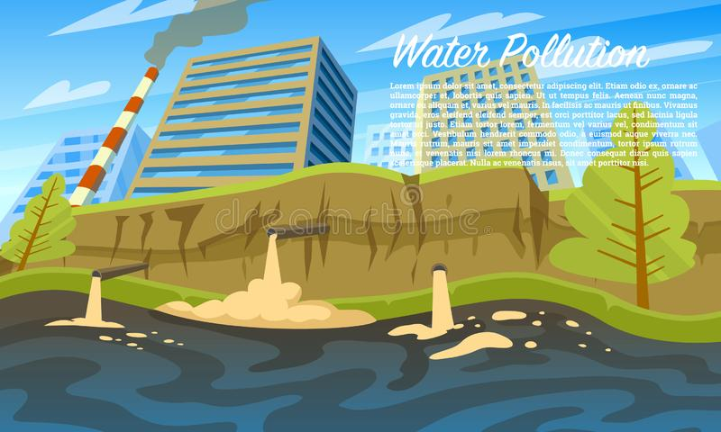 Water pollution. Environmental problem. Emissions of toxic hazardous radioactive waste. Household waste in the river royalty free illustration