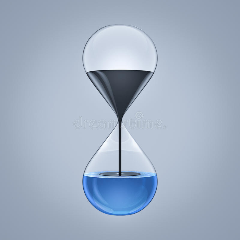 Water pollution. Hour glass representing water pollution caused by petroleum industries royalty free illustration