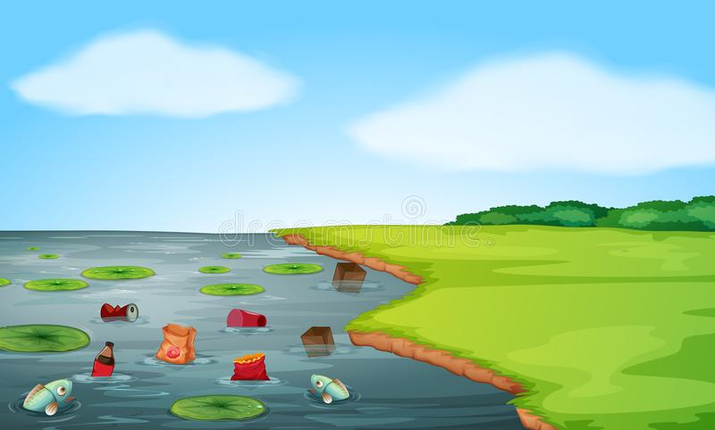 A water pollution landscape royalty free illustration