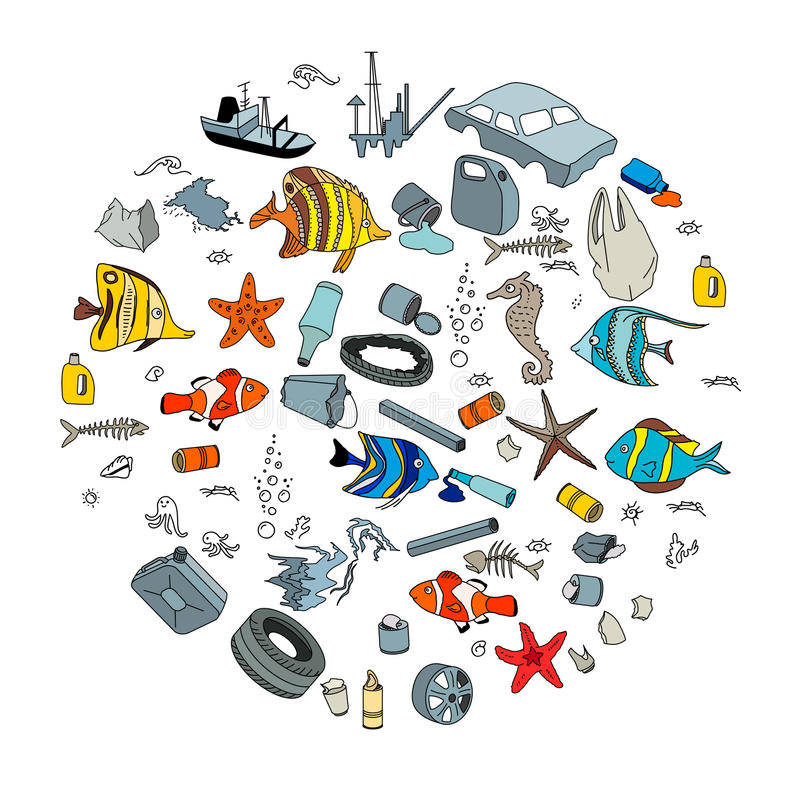Water pollution in the ocean. Garbage and waste. vector illustration