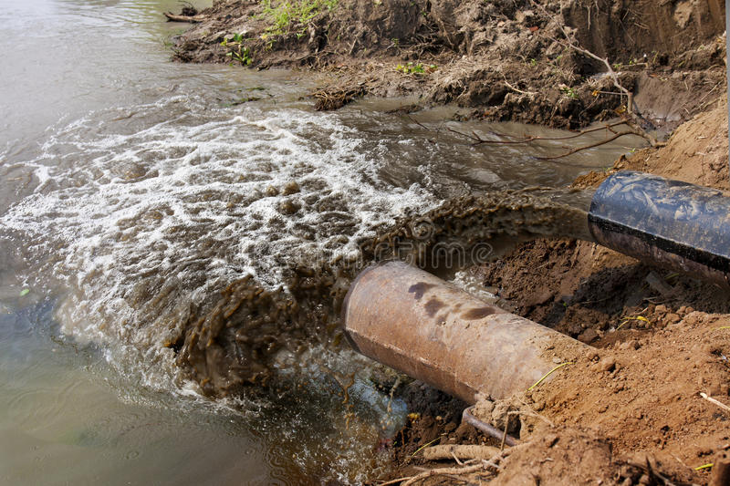 Water pollution in river stock image